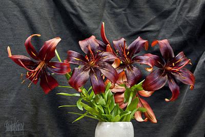 Black Lilies Art Print