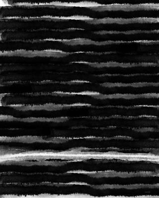 Black Lines- Art By Linda Woods Print by Linda Woods