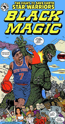 Knicks Digital Art - Black Magic Series Carmelo Anthony by Isis Kenney