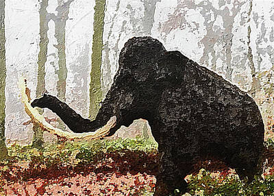 Digital Art - Black Mammoth by PixBreak Art
