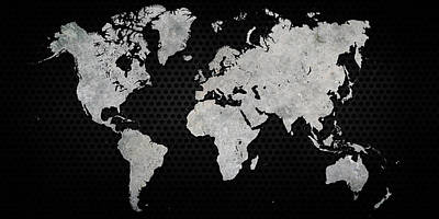 Black Metal Industrial World Map Art Print by Douglas Pittman