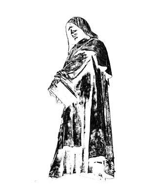 Digital Art - Black Monk - Giordano Bruno by Andrea Mazzocchetti