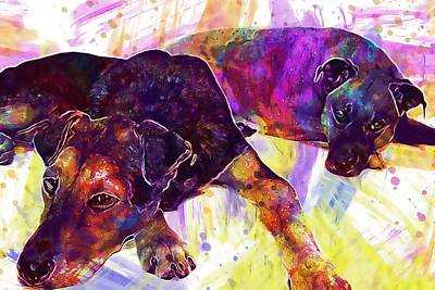 Dog Rescue Digital Art - Black Mouth Cur Rescue Dogs Shepard  by PixBreak Art