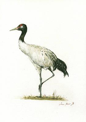 Crane Wall Art - Painting - Black Necked Crane by Juan Bosco