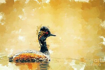 Digital Art - Black-necked Grebe by Hernan Bua