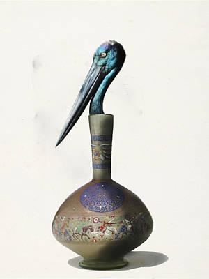 Digital Art - Black Necked Stork Stuffed Inside The Gilded Bottle by Keshava Shukla