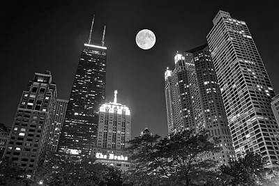 Photograph - Black Night In Chicago 2017 by Frozen in Time Fine Art Photography