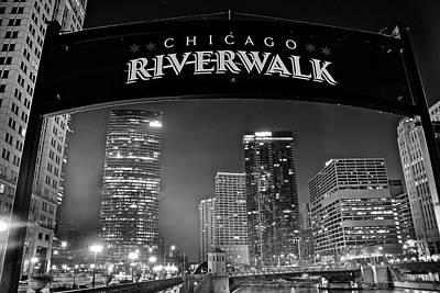 Riverwalk Photograph - Black Night Riverwalk by Frozen in Time Fine Art Photography