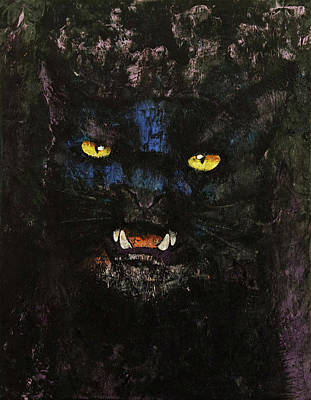 Trippy Painting - Black On Black Cat by Michael Creese