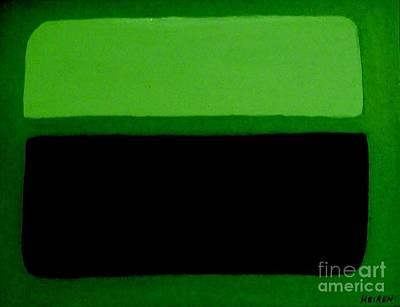 Print Like Painting - Black On Dark Green And Medium Green by Marsha Heiken