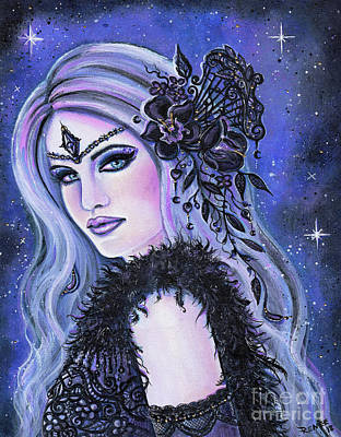 Painting - Black Orchid Fantasy Woman by Renee Lavoie