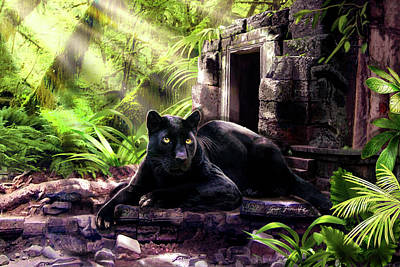 Large Cats Painting - Black Panther Custodian Of Ancient Temple Ruins  by Regina Femrite