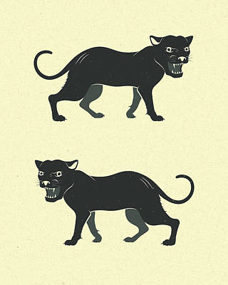 Panther Digital Art - Black Panthers by Jazzberry Blue