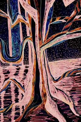 Painting - Black-peach Moonlight River Tree by Gecko Joy