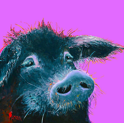 Pig Painting - Black Pig Painting On Purple by Jan Matson