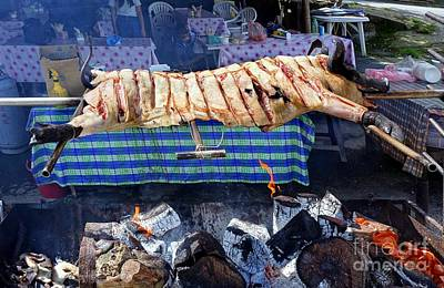 Photograph - Black Pig Spit Roasted In Taiwan by Yali Shi