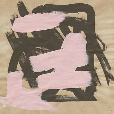 Painting - Black Pink Abstract On Butcher by Cortney Herron