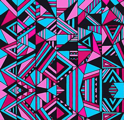 Digital Art - Black Pink Blue Geometric Design by Gabriella Weninger - David