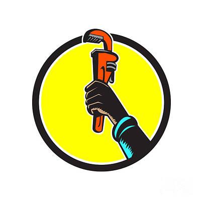 Raising Digital Art - Black Plumber Hand Raising Monkey Wrench Circle by Aloysius Patrimonio