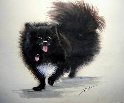 Black Pomeranian Dog 3 Art Print