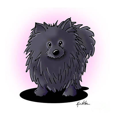 Drawing - Black Pomeranian by Kim Niles