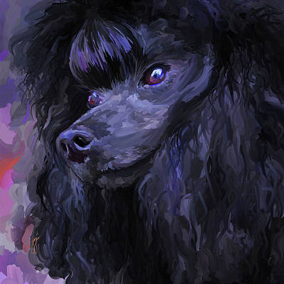 Painting - Black Poodle - Square by Jai Johnson