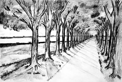 Walkway Drawing - Black Promenada by Ramona Matei