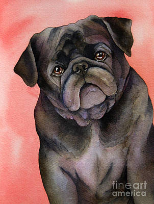 Watercolor Pet Portraits Painting - Black Pug by Cherilynn Wood