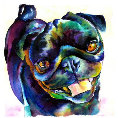 Painting - Black Pug by Christy  Freeman