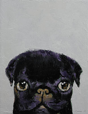 Carlin Painting - Black Pug by Michael Creese