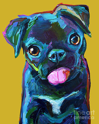 Painting - Black Pug Pup With Gold Background by Robert Phelps