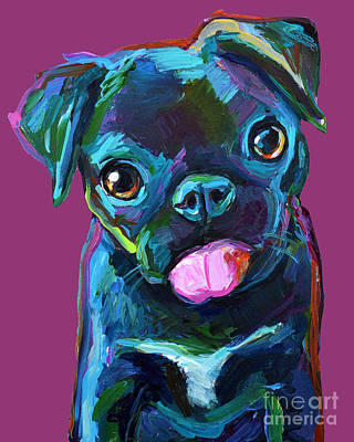 Painting - Black Pug Puppy by Robert Phelps