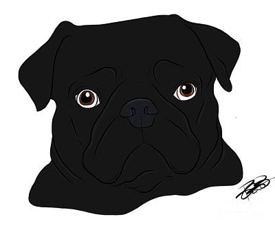 Digital Art - Black Pug by Rachel Barrett