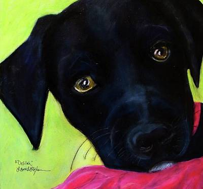 Painting - Black Puppy - Shelter Dog by Laura  Grisham