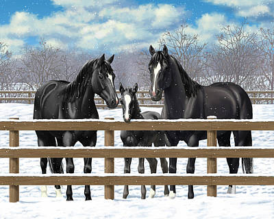 Dark Horse Painting - Black Quarter Horses In Snow by Crista Forest