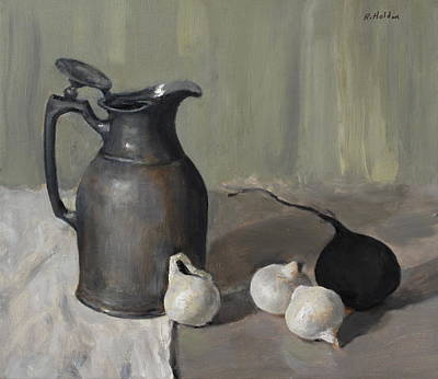 Painting - Black Radish, Pearl Onions, Silver Insulating Carafe by Robert Holden