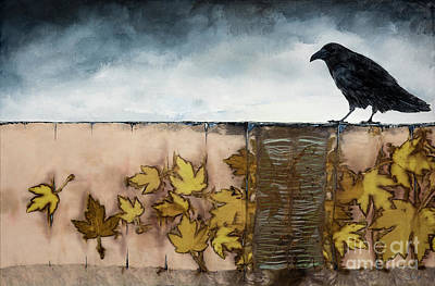 Maple Leaf Art Mixed Media - Black Raven Sits Above Scattered Leaves by Carolyn Doe