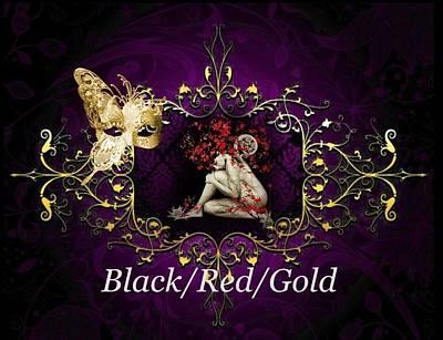 Digital Art - Black/red/gold by Ali Oppy