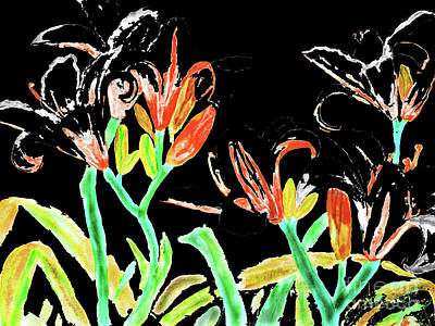 Painting - Black-red Lilies, Painting by Irina Afonskaya