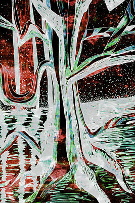 Painting - Black-red Moonlight River Tree by Gecko Joy