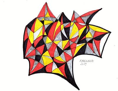 Drawing - Black Red  Yellow by Paul Meinerth