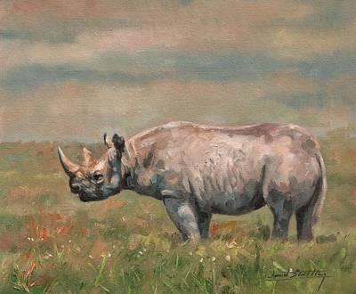 Rhinoceros Painting - Black Rhino by David Stribbling