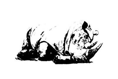 Ceramic Art - Black Rhino by Elizabeth Lock