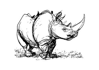 Drawing - Black Rhino Gesture Sketch by John LaFree
