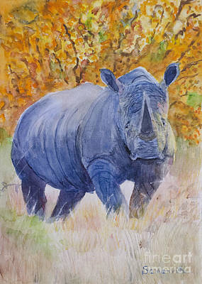 Black Rhino Is The Evening Sun Art Print by Samanvitha Rao