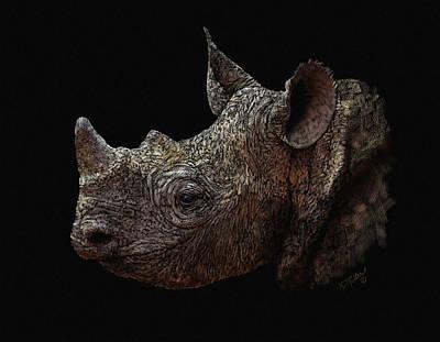 Pastel - Black Rhino by Kathie Miller