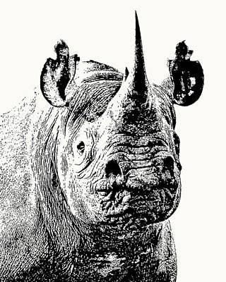 Art Print featuring the photograph Black Rhino Portrait by Scotch Macaskill