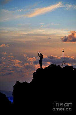 Kaanapali Beach Photograph - Black Rock Silhouette Diver by Kelly Wade