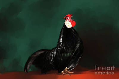 Digital Art - Black Rooster by Lisa Redfern