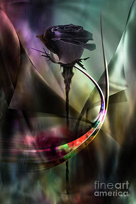 Digital Art - Black Rose In Color Symphony by Johnny Hildingsson